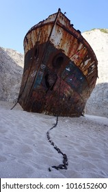 Front view of Shipwreck at Zakynthos Navagio Beach