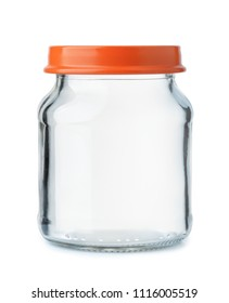 Front view of small empty glass jar with lid isolated on white