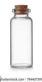 Front view of small empty glass vial with cork isolated on white