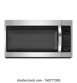 Front View of Stainless Steel Over-the-Range Microwave Oven Isolated on White Background. Kitchen and Domestic Appliances. Clipping Path