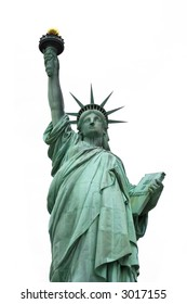 Front view of the Statue of Liberty against a white background