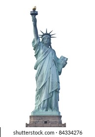 Front view of the Statue of Liberty in New York City isolated.