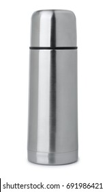 Front view of steel thermos flask isolated on white