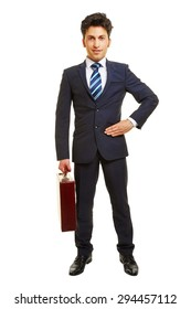 Front view of successful business manager with a briefcase