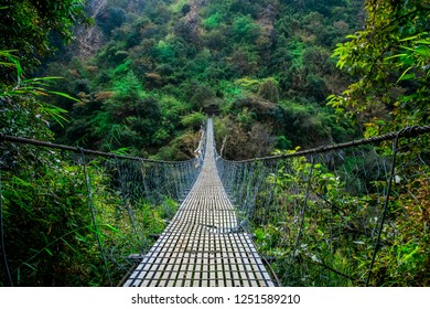 Front view of suspension bridge in Nepal, Langtang valley