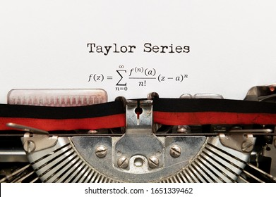Front view of Taylor series math formula printed on paper with vintage typewriter