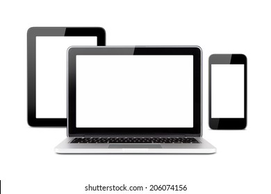 Front view of technology devices, tablet, laptop and smart phone with blank, empty screens, isolated on white background.