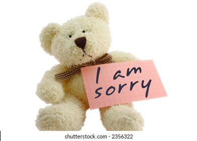 """Front view of teddy bear toy with """"I am sorry"""" note, isolated on white background"""
