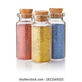 Front view of three colorful glitter bottle isolated on white