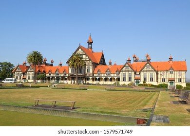 Front view of the timber-framed Rotorua Museum, previously the Bath House, from the Government Gardens in New Zealand