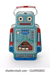 Front view of tin lunch box robot, contains clipping path