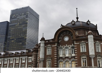 Front view of Tokyo Station, a railway station in the Marunouchi business district of Chiyoda in Tokyo, close to the Imperial Palace grounds.