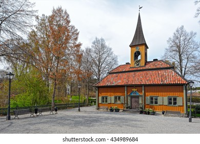 Front view of Town Hall in Sigtuna,the oldest town in Sweden. Built in 1744, the wooden Town Hall is still in use and is considered to be the smallest town hall
