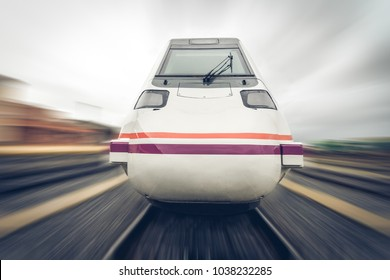 front view of a train moving at high speed with zoom effect