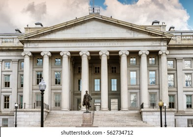 Front view of the Treasury Department building in Washington DC, capital of the United States of America.
