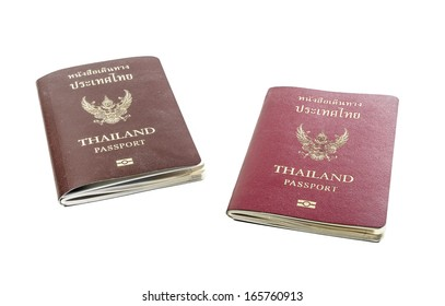 front view two old passport book of thailand isolated on white backgrounds