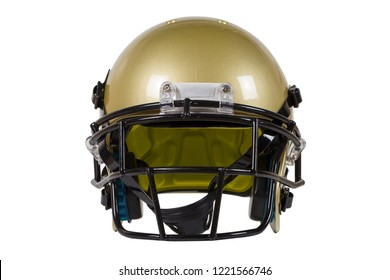 Front view of Vegas Gold American football helmet isolated on white with clipping path
