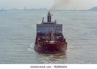 Front view of vietnamese laden chemical/oil products tanker underway in front of Vung Tau coast. Vietnam, Southeast Asia.