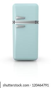 front view of a vintage fridge (3d render)