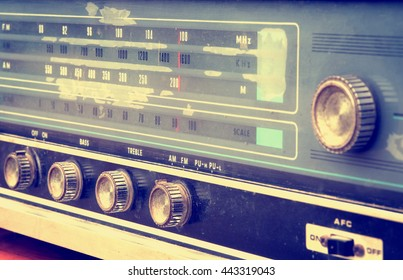 Front view of vintage radio, retro technology