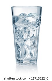 Front view of water glass with ice  isolated on white