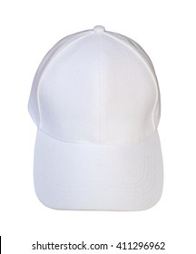 Front view white baseball cap isolated on white background.