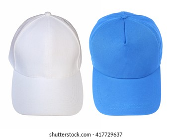Front view white and blue baseball cap isolated on white background.