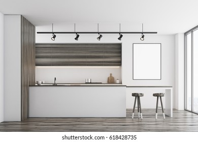 Front view of a white kitchen with a bar and dark wooden furniture. There is a blank framed poster on a wall. 3d rendering, mock up