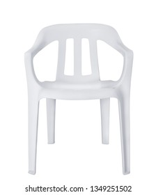 Front view of white plastic chair isolated on white