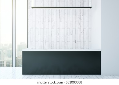Front view of white wood reception desk with city view and daylight. Mock up, 3D Rendering