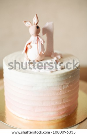 Front View Of White Pink Birthday Cake With Cute Bunny On It Delicious