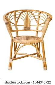 front view of wicker chairs isolated on white with clipping path
