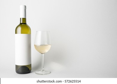 Front view of the wine bottle and wine glass