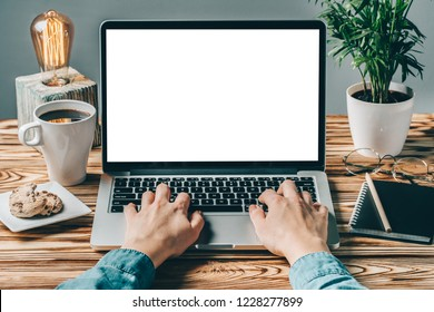 Front view of woman hands working on laptop with blank white screen standing on the rustic wooden desk with coffee cup, cookies, eyeglasses and palm tree. Mock up, copy space for your text.