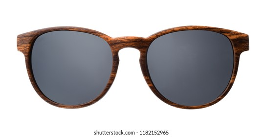 Front view of  wood sunglasses isolated on white