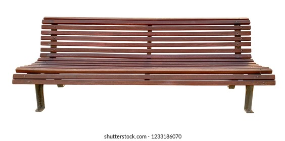 Front view of wooden bench (isolated on a white background)