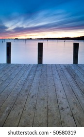 Front view Wooden Pier at dusk