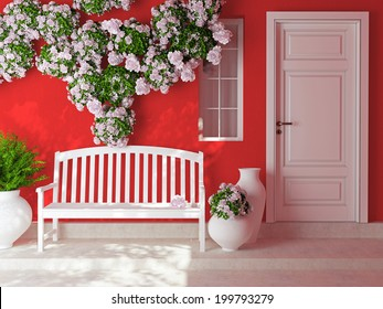 Front view of a wooden white door on a red house with window. Beautiful roses and bench on the porch. Exterior of a house.