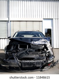 front view of wrecked car