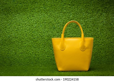 front view of yellow purse on green grass background