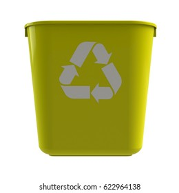 Front view of yellow recycling bin on a white background, 3D rendering