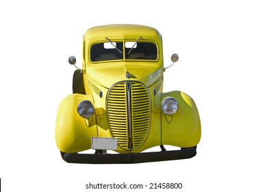 front view of a yellow retro pickup on white