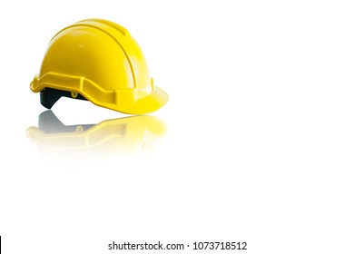 Front view Yellow Safety Engineer Helmet reflection ,Isolated with copy space for text background