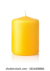 Front view of yellow unused aromatic wax candle isolated on white