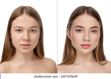 Front view of young girl posing without makeup and with natural nude makeup. Attractive female with blue eyes looking at camera on white isolated background studio. Concept of before and after.