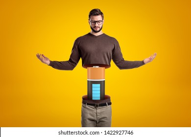 Front view of young hadsome man doing meditation gesture, his body cut at waist and upperbody lifted in air, with big battery between the two parts. Restore energy. Quality time. Balance and harmony.