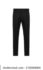 Front views black classic trousers on isolated background