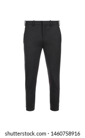 Front views of black trousers on isolated background