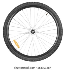 Front wheel of a mountain bike isolated on white background