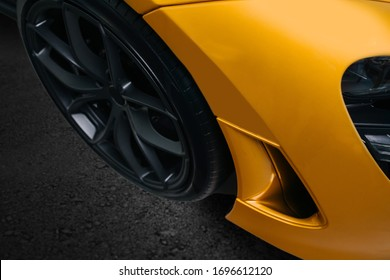 Front wheel of supercar close up